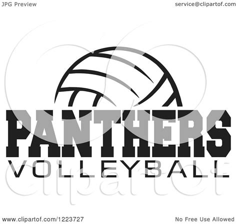 clipart of a black and white ball with panthers volleyball