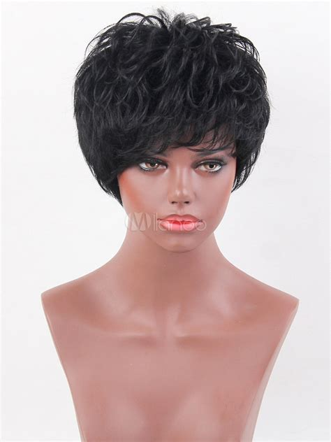 black women short layered wigs curly short wigs women s black layered human hair wigs