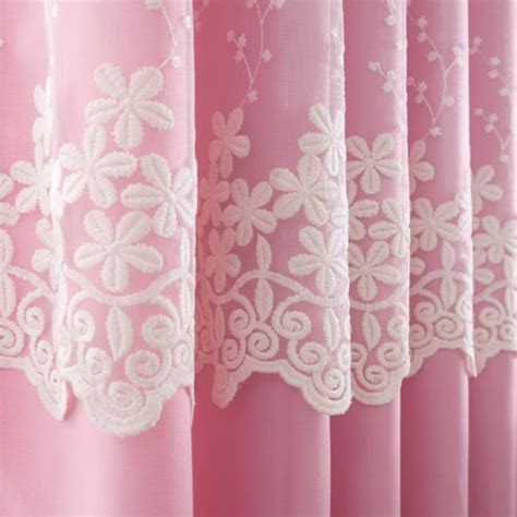 elegant cream beige poly cotton lace girls bedroom curtains pink and beige lace embroidery polyester kids curtains