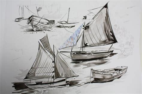 dessin bateau encre de chine laurianne chevalier les bateaux 224 l encre de chine