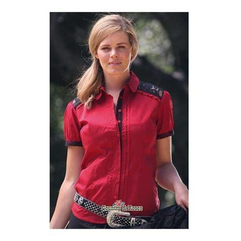imagenes de blusas vaqueras blusa cowgirl roja de manga corta con encaje negro en los