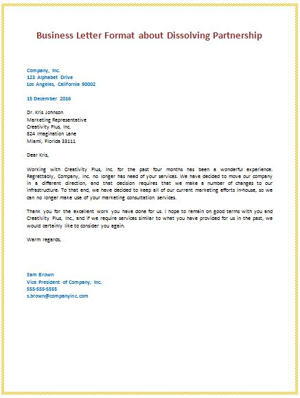 business letter template partnership business letter format about dissolving partnership