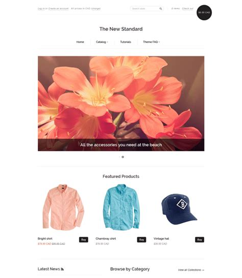 shopify themes new standard 26 of the best free responsive shopify themes for mobile
