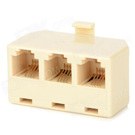rj 11 1 to 3 telephone network connector splitter extender adapter beige 5