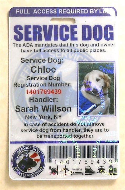 service id holographic service id card for service animal ada 0bh ebay
