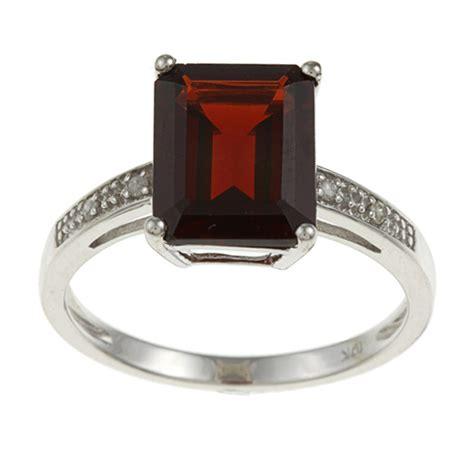 10k white gold emerald cut garnet and ring