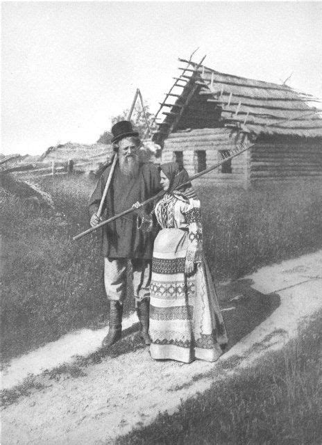 russian peasants 19th century russian peasant couple in traditional costumes old russia