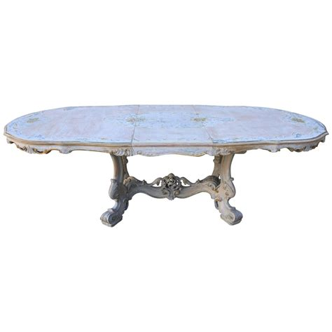 painted rococo style dining table w center leaf at