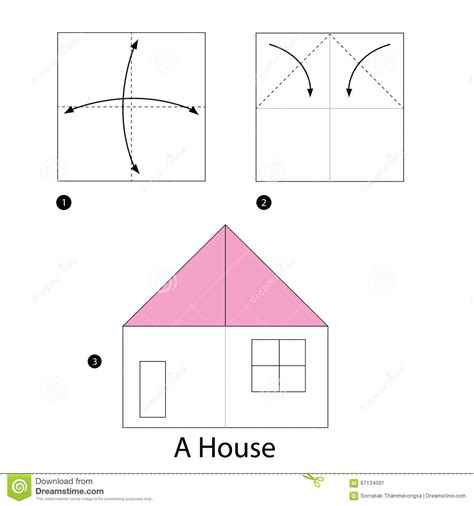 Make Paper House - step by step how to make origami a house