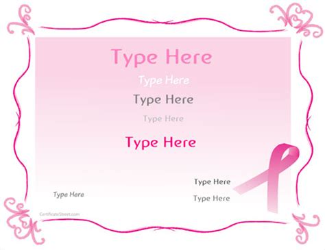 breast cancer template blank certificates breast cancer awareness certificate