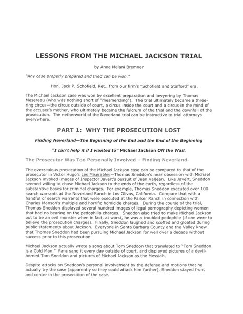 michael jackson biography short summary lessons from the michael jackson trial
