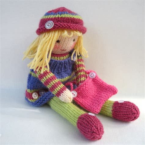 knit toys betsy button doll knitting pattern pdf instant