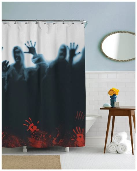 walking dead bathroom zombie herd shower curtain