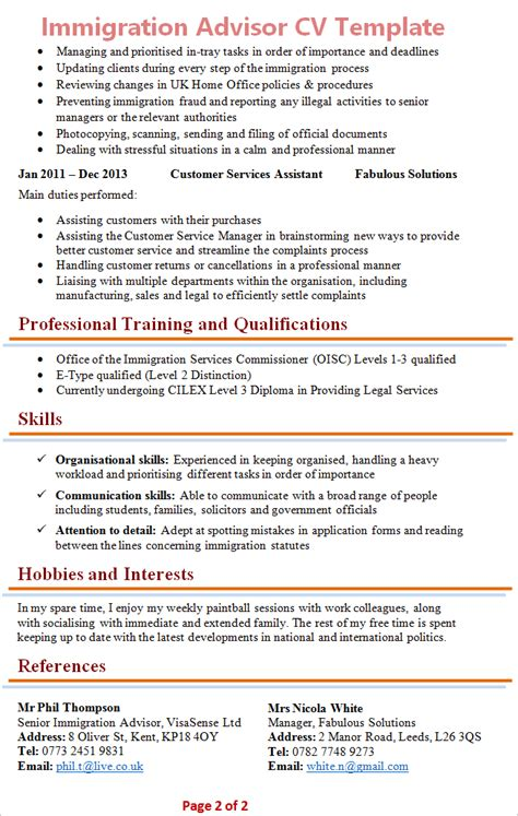 template cv for solicitor immigration advisor cv template 2