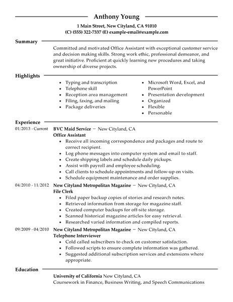 Resume Office Assistant by Best Office Assistant Resume Exle Livecareer