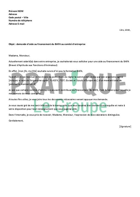 Exemple De Lettre Soutien Financier Application Letter Sle Exemple De Lettre De Demande Financiere