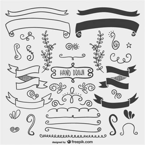 Calligraphy Decorations by Sketchy Calligraphic Ornaments Vector Free