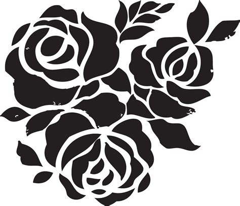 templates for painting rose flower stencils printable for decoration activity