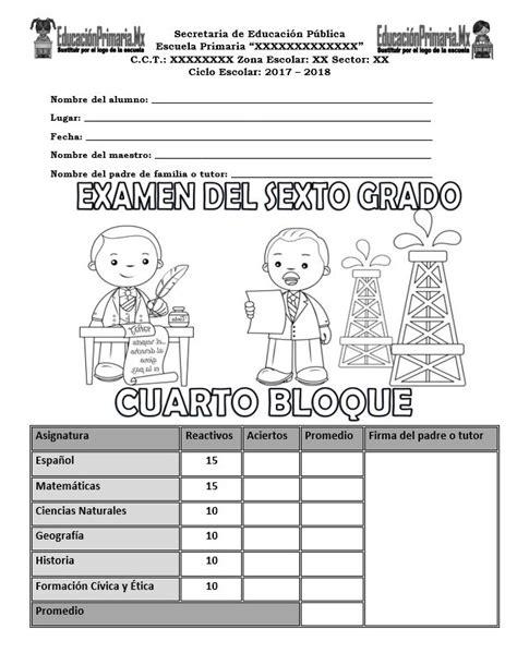 examen de quinto grado cuarto bloque paco el chato examen del sexto grado del cuarto bloque para el ciclo