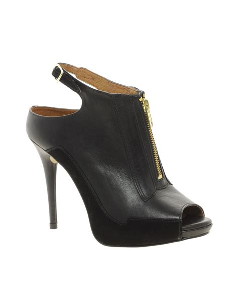 river island zip front platform shoes in black lyst