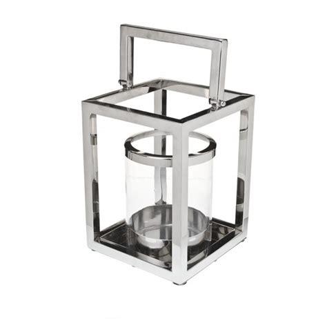 Chrome Candle Lantern Large Chrome And Glass Square Shaped Lantern Styleabode