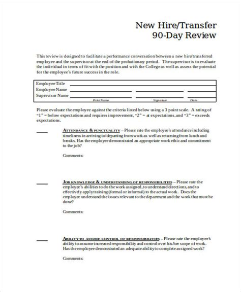 90 day review template new employee probation period form vocaalensembleconfianza nl