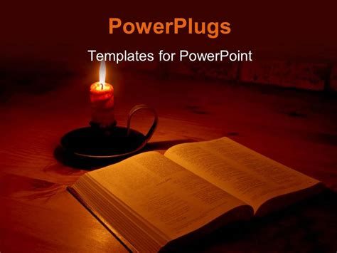 powerpoint template the bible and a candle with its light