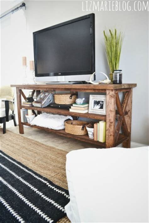 Tv Rack Diy by Picture Of Diy Rustic Wood Tv Console