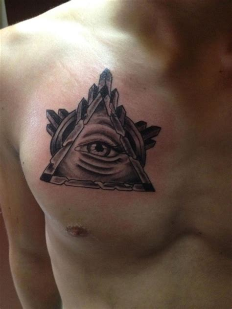 right chest tattoo designs cool triangle eye chest tattoomagz