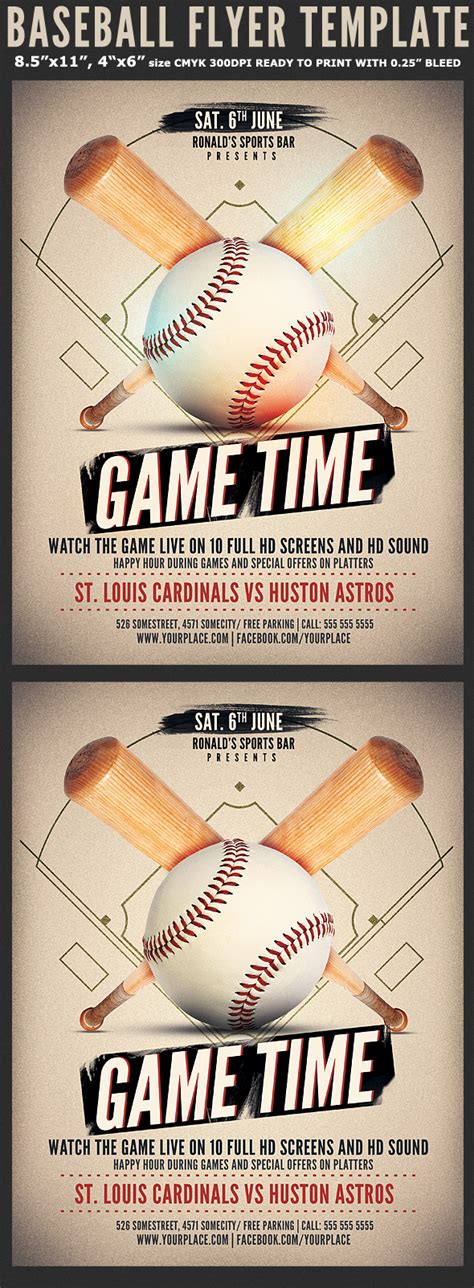 baseball game flyer template flyerstemplates