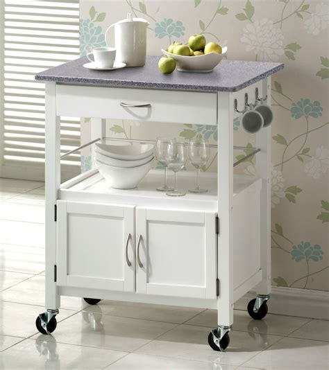 york white painted grey granite top hardwood kitchen trolley island storage ebay