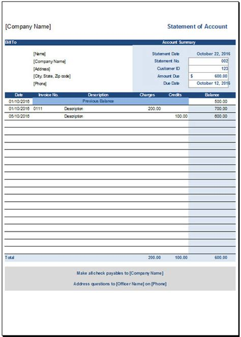 statement account template free statement of account template
