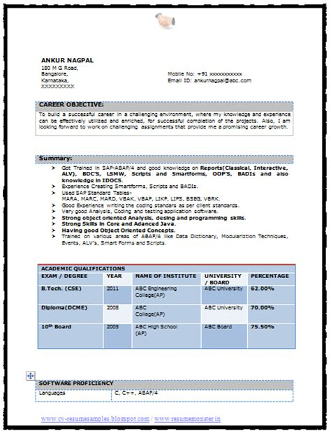 cse engineer resume format resume format for b tech cse writing and editing services attractionsxpress