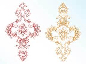 Big Snowflakes Decorations Vintage Flowers Vector