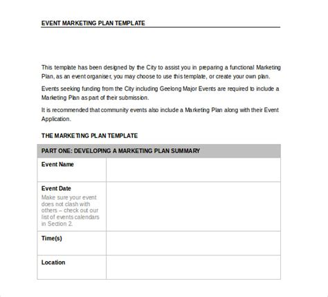 event marketing template 33 word marketing plan templates free free