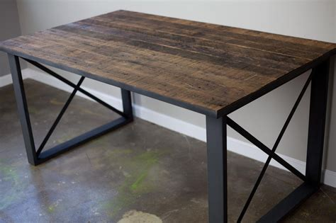 Vintage Modern Desk Combine 9 Industrial Furniture Dining Table Desk Reclaimed Wood Steel Industrial