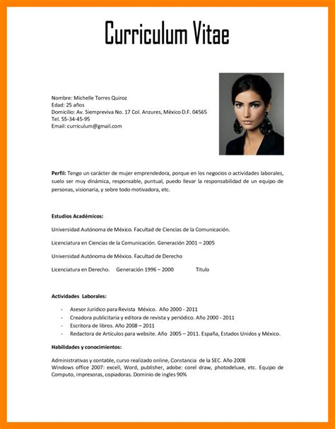 Modelo De Curriculum Vitae Word Bolivia 4 Curriculum Modelo Word Resume Sections