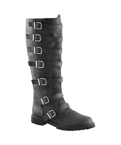 mens black multi buckled knee high boots