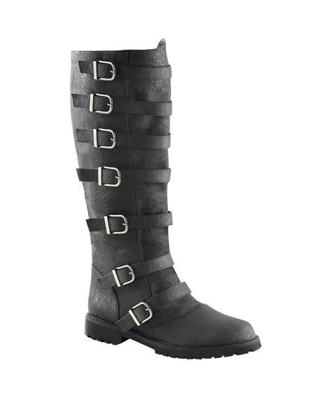 mens black knee high boots mens black multi buckled knee high boots