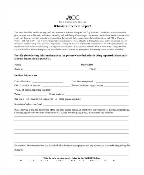 behavior report template behavior incident report template 15 free pdf format
