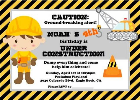 Construction Themed Birthday Card Template by 40 Construction Themed Birthday Ideas Hative