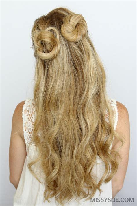 half up bun hairstyles tutorial half up double buns hair tutorial missy sue