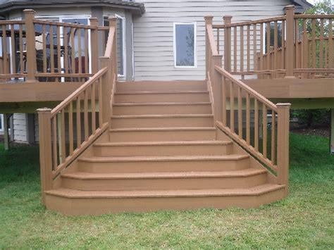 deck stairs ideas flared deck stairs http www rocksolidbuildersinc