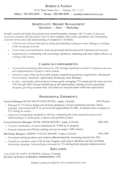 career objective for hotel industry resume objective exles in hospitality resume ixiplay