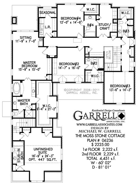 stone cottage floor plans moss stone cottage house plan house plans by garrell