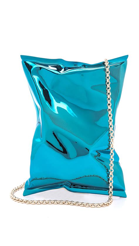 Anya Hindmarch Louisa Mirrored Clutch by Anya Hindmarch Crisp Packet Clutch Blue In Blue Lyst