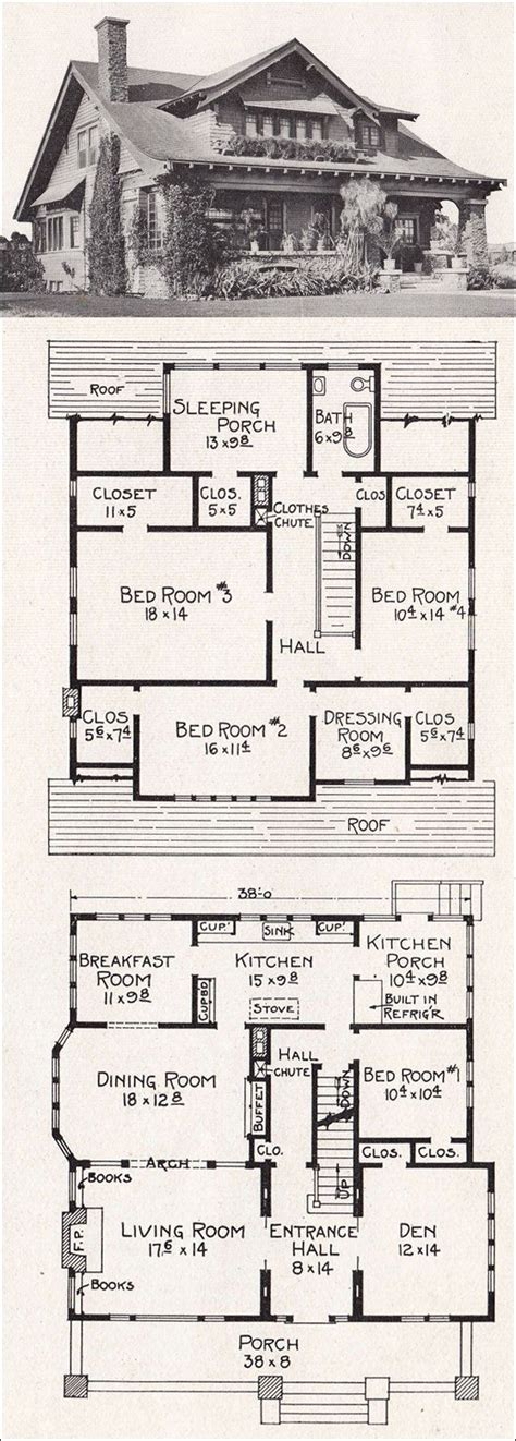 antique house floor plans vintage bungalow house plan architectural illustrations