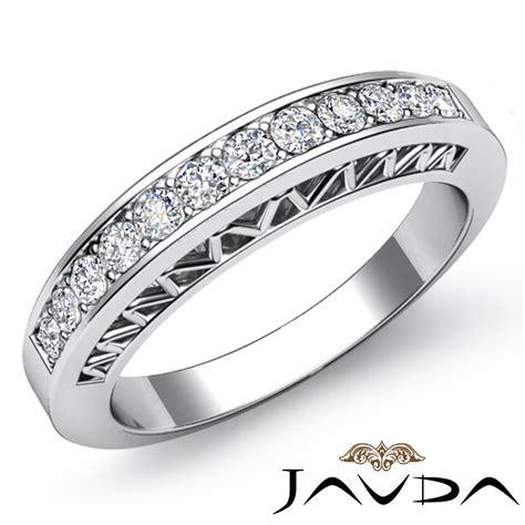 womens half wedding band platinum pave set diamond unique