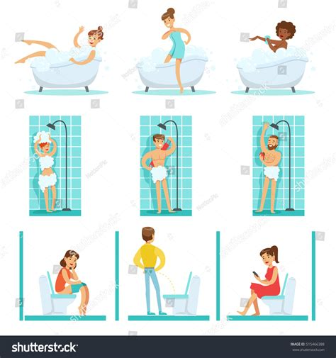 people using the bathroom people bathroom doing their routine hygiene stock vector