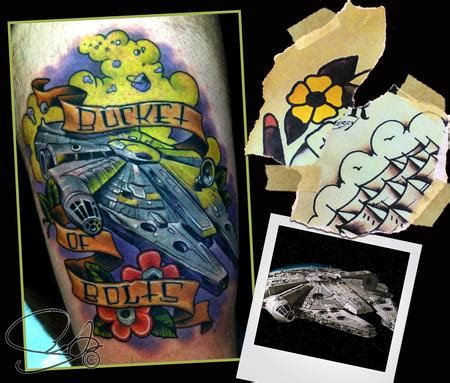 olde town tattoo millenium falcon by scotty munster tattoonow
